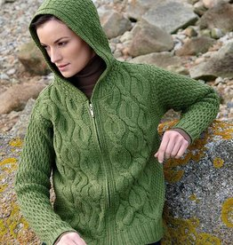 SWEATERS CHUNKY GREEN CABLE KNIT HOODIE SWEATER