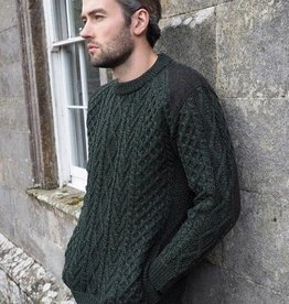 SWEATERS CREW NECK TWEED GREEN SWEATER
