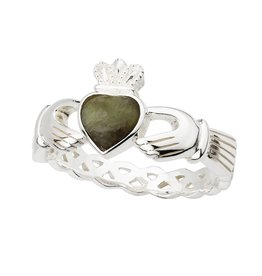RINGS SOLVAR STERLING & CONNEMARA CLADDAGH RING with BRAIDED BACK