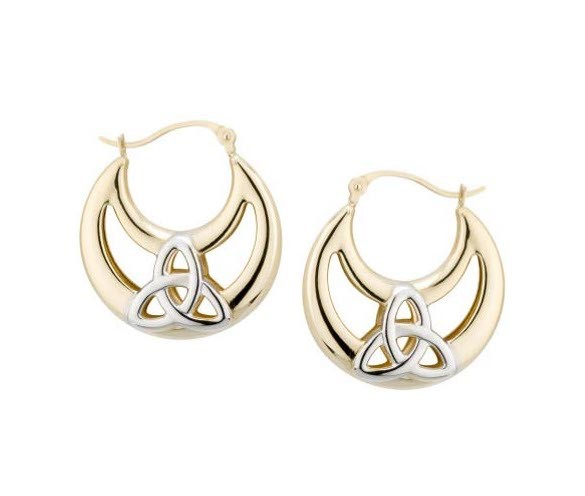 EARRINGS SOLVAR 14K SML HALFMOON TRINITY HOOPS