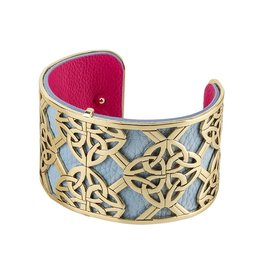 BRACELETS & BANGLES SOLVAR WIDE GOLD TONE CELTIC CUFF BANGLE
