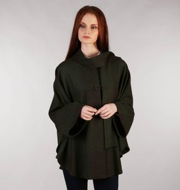 CAPES & RUANAS TRIONA TWEED SHORT CAPE - FOREST GREEN