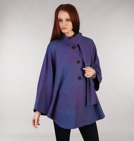 CAPES & RUANAS TRIONA TWEED SHORT CAPE - PURPLE SQUARE