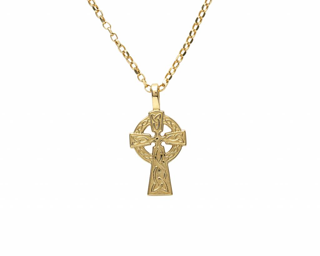 CELTIC CROSSES 10K YELLOW GOLD SMALL DOUBLE SIDED CELTIC CROSS