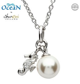PENDANTS & NECKLACES OCEANS STERLING MINI SEA HORSE PENDANT with PEARL & SWAROVSKI CRYSTALS