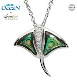PENDANTS & NECKLACES OCEANS STERLING RAY PENDANT with ABALONE & SWAROVSKI CRYSTALS