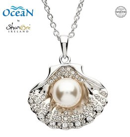 PENDANTS & NECKLACES OCEANS STERLING SHELL PENDANT with PEARL & SWAROVSKI CRYSTALS