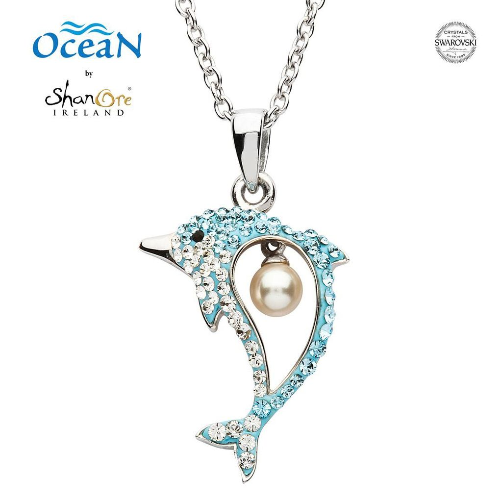 Oceans sterling dolphin pendant with pearl swarovski crystals pendants necklaces oceans sterling dolphin pendant with pearl swarovski crystals aloadofball Choice Image