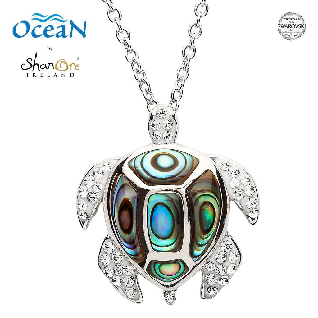 PENDANTS & NECKLACES OCEANS STERLING TURTLE PENDANT with ABALONE & SWAROVSKI CRYSTALS