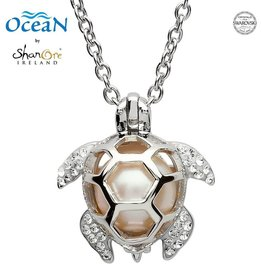 PENDANTS & NECKLACES OCEANS STERLING TURLE PENDANT with PEARL & SWAROVSKI CRYSTALS