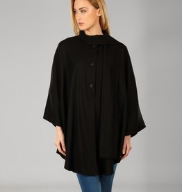 CAPES & RUANAS TRIONA TWEED LONG CAPE - BLACK