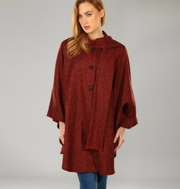 CAPES & RUANAS TRIONA TWEED LONG CAPE - RED SALT & PEPPER