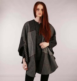 CAPES & RUANAS TRIONA TWEED SHAWL CAPE - BLACK/WHITE/RED CHECK