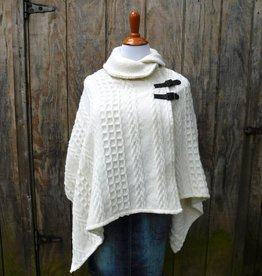 CAPE BRANIGAN SHAWL COLLAR PONCHO - Aran Natural