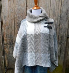 CAPES & RUANAS BRANIGAN SHAWL COLLAR PONCHO - Multi Beige
