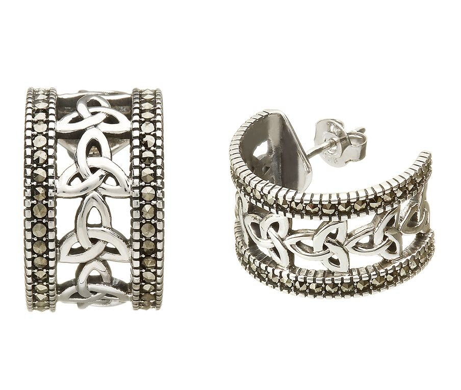 EARRINGS ANU STERLING & MARCASITE TRINITY HALF-HOOP EARRINGS