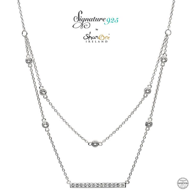 PENDANTS & NECKLACES SIGNATURE 925 - DOUBLE NECKLACE with WHITE SWAROVSKI CRYSTALS