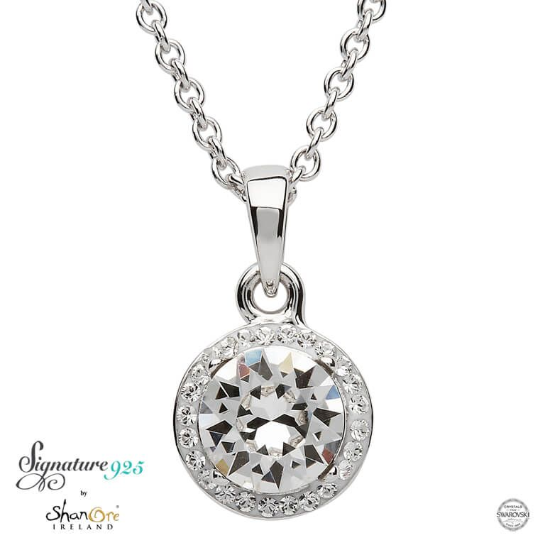 PENDANTS & NECKLACES SIGNATURE 925 - HALO PENDANT with SWAROVSKI CRYSTALS