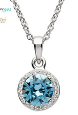PENDANTS & NECKLACES SIGNATURE 925 - AQUAMARINE HALO PENDANT with SWAROVSKI CRYSTALS