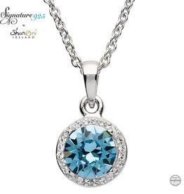 PENDANTS & NECKLACES SIGNATURE 925 - AQUAMARINE HALO NECKLACE with SWAROVSKI CRYSTALS