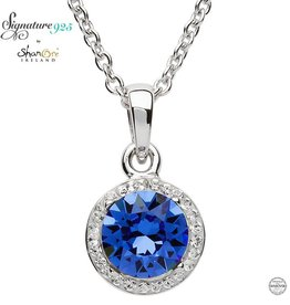 PENDANTS & NECKLACES SIGNATURE 925 - SAPPHIRE HALO NECKLACE with SWAROVSKI CRYSTALS