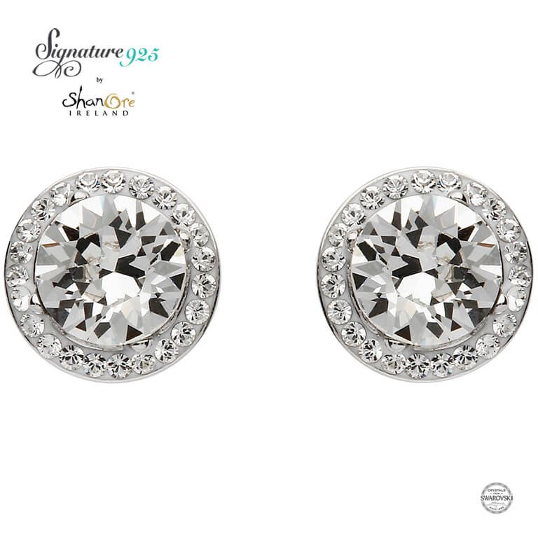 EARRINGS SIGNATURE 925 - HALO EARRINGS with SWAROVSKI CRYSTALS