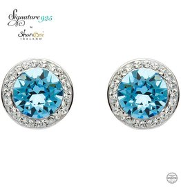 EARRINGS SIGNATURE 925 - AQUAMARINE HALO EARRINGS with SWAROVSKI CRYSTALS
