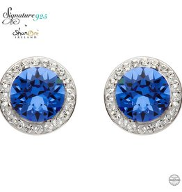EARRINGS SIGNATURE 925 - SAPPHIRE HALO EARRINGS with SWAROVSKI CRYSTALS