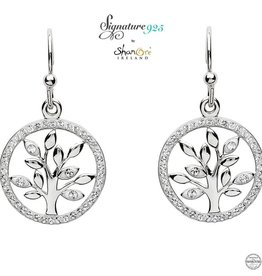 EARRINGS SIGNATURE 925 - TREE OF LIFE EARRINGS with SWAROVSKI CRYSTALS