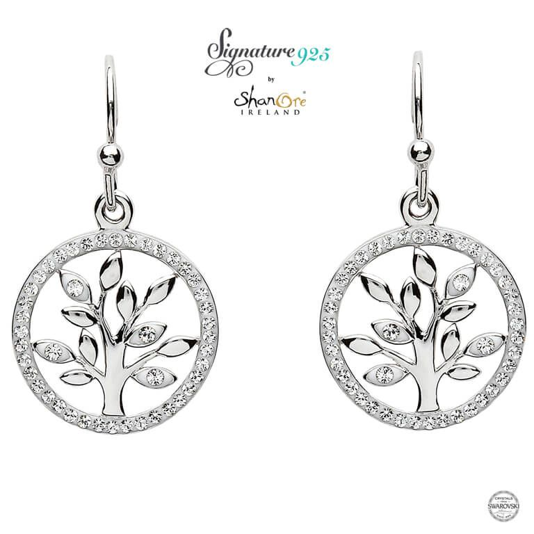 Earrings Signature 925 Tree Of Life With Swarovski Crystals