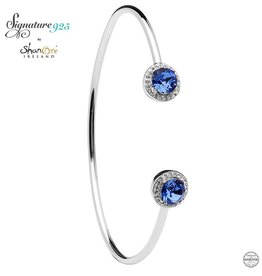 BRACELETS & BANGLES SIGNATURE 925 - SAPPHIRE HALO BANGLE with SWAROVSKI CRYSTALS