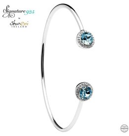 BRACELETS & BANGLES SIGNATURE 925 - AQUAMARINE HALO BANGLE with SWAROVSKI CRYSTALS