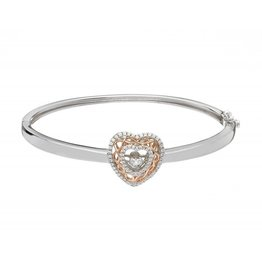 BRACELETS & BANGLES BORU STERLING & ROSE GOLD HEART BANGLE with DANCING STONE