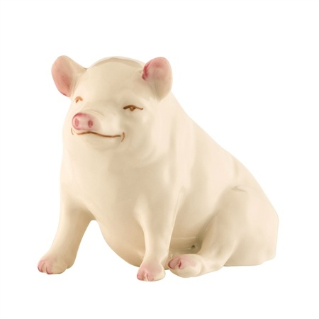 MISC NOVELTY BELLEEK CLASSIC PIG FIGURINE