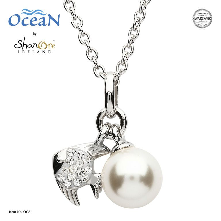 PENDANTS & NECKLACES OCEANS STERLING MINI FISH PENDANT with PEARL & SWAROVSKI CRYSTALS