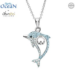 PENDANTS & NECKLACES OCEANS STERLING DOLPHIN PENDANT with CLADDAGH & SWAROVSKI CRYSTALS