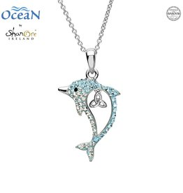 PENDANTS & NECKLACES OCEANS STERLING DOLPHIN PENDANT with TRINITY & SWAROVSKI CRYSTALS