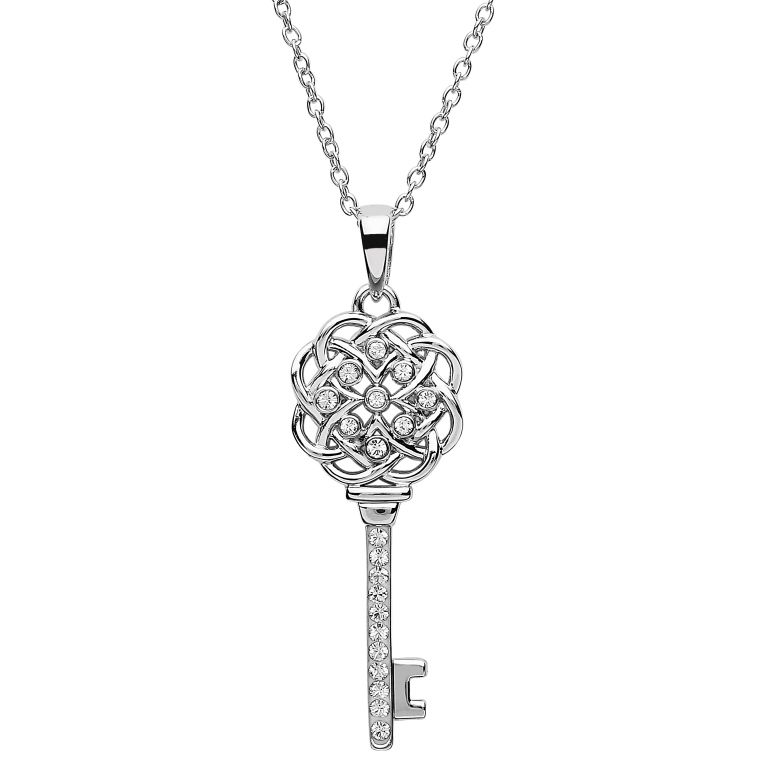 PENDANTS & NECKLACES SHANORE STERLING CELTIC KEY PENDANT with SWAROVSKI CRYSTALS
