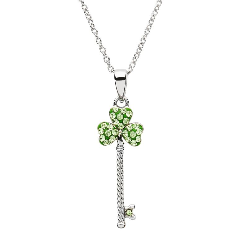 PENDANTS & NECKLACES SHANORE STERLING CLADDAGH KEY PENDANT with PERIDOT SWAROVSKI CRYSTALS
