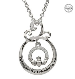 PENDANTS & NECKLACES SHANORE STERLING & SWAROVSKI CRYSTAL CLADDAGH 'Love Loyalty Friendship' PENDANT