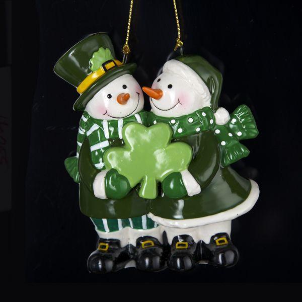 ORNAMENTS IRISH SNOWMAN COUPLE ORNAMENT