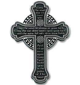 """CROSSES MAY THE ROAD RISE 5.5"""" PEWTER WALL CROSS"""