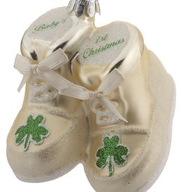 ORNAMENTS GLASS BABY SHOE ORNAMENT with SHAMROCK