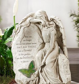 ANGELS MEMORIAL SITTING ANGEL GARDEN STONE