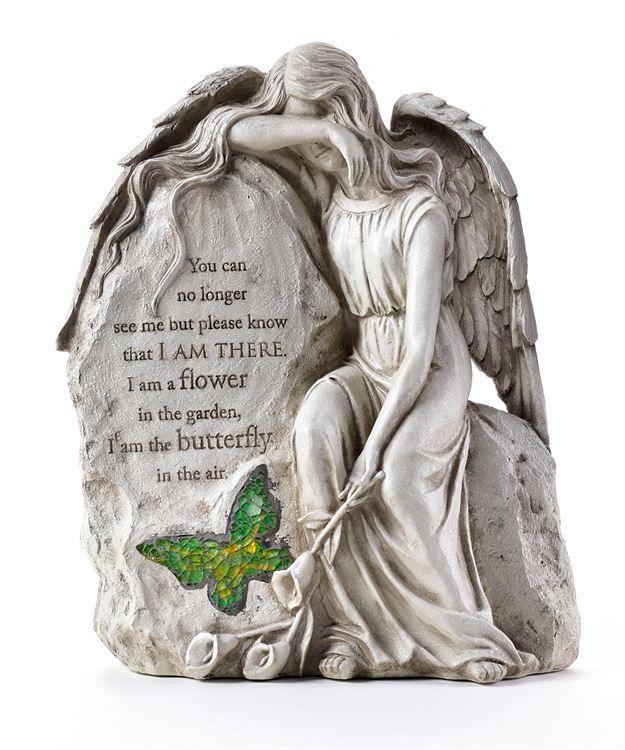 ANGELS MEMORIAL SITTING ANGEL GARDEN STONE