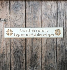 "PLAQUES, SIGNS & POSTERS ""TEA SHARED..."" CARVED WOOD SIGN"