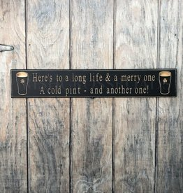 """PLAQUES, SIGNS & POSTERS PINT """"HERE'S TO A LONG..."""" CARVED WOOD SIGN"""