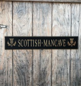 "PLAQUES & GIFTS ""SCOTTISH MAN CAVE"" CARVED WOOD SIGN"