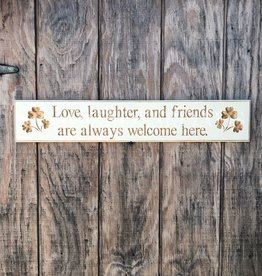 "PLAQUES, SIGNS & POSTERS ""LOVE, LAUGHTER, AND FRIENDS..."" CARVED WOOD SIGN"