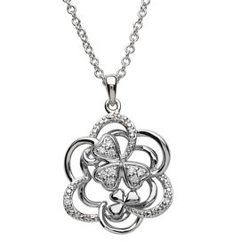PENDANTS & NECKLACES CLEARANCE - SHANORE STERLING & CZ TWISTED KNOT SHAMROCK PENDANT - FINAL SALE